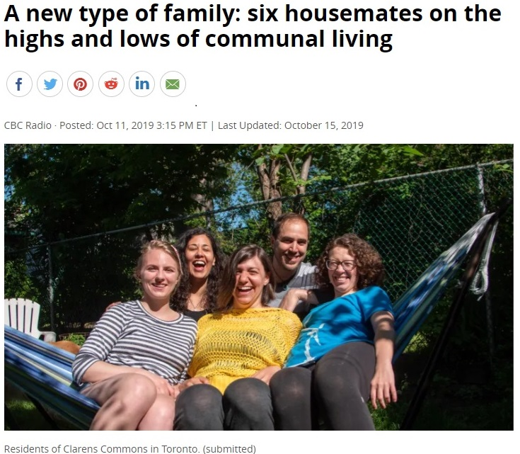 Five cohouse residents in a hammock under a headline about six unrelated adults living in community.